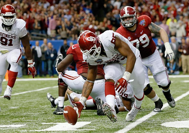 The Sugar Bowl was billed as a sendoff for Alabama quarterback AJ McCarron, but it became a showcase for Grissom and the Sooners' defense. The 6-foot-4, 263-pound junior had two sacks and two fumble recoveries -- the second of which he returned for a touchdown -- in Oklahoma's 45-31 win.