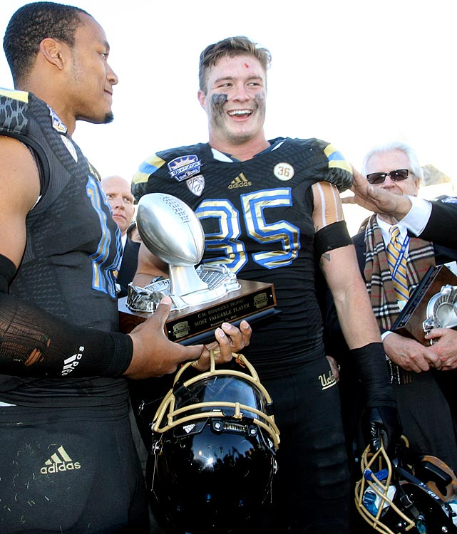 "The senior ended his Bruins' career with a flourish: 10 tackles and an interception in UCLA's 42-12 Sun Bowl rout of Virginia Tech. Zumwalt earned co-MVP honors, and coach Jim Mora told reporters later, ""I thought he played the best game I have ever seen him play."""