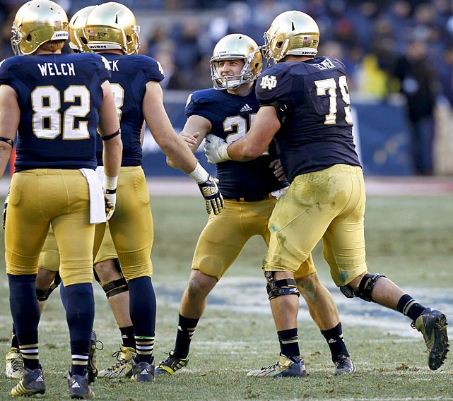 The Fighting Irish had trouble finishing drives in the Pinstripe Bowl against Rutgers, but Notre Dame's kicker came through when it mattered most. Brindza made a season-high five field goals in six attempts to help secure a 29-16 victory.