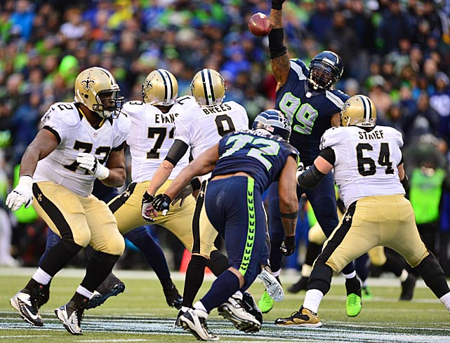 The Seahawks held Drew Brees to 34 yards passing in the first half. He finished with 309 and one touchdown pass.