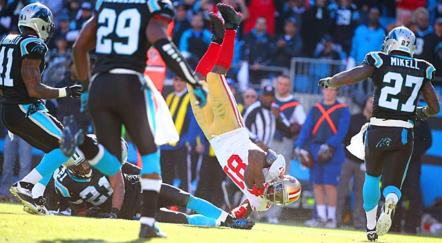 Anquan Boldin proved his toughness on this play and went on to lead the 49ers in receiving with 136 yards on eight grabs.