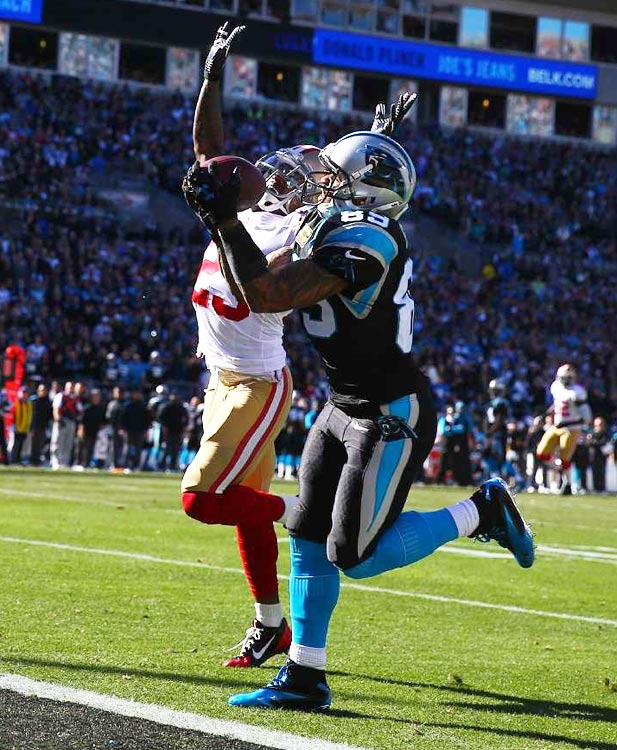 This pass got over the outstretched hands of Tarell Smith and dropped right into Steve Smith's for a 31-yard TD that gave Carolina a 7-6 lead.