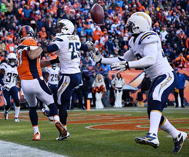 Donald Butler caught this deflection and stayed in bounds for an interception that kept Denver from adding any points to its 14-0 lead.