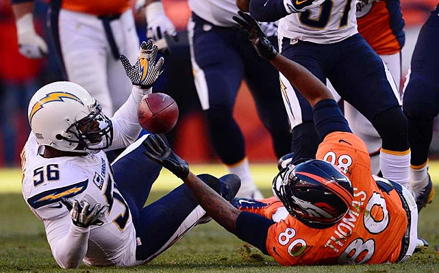 Julius Thomas fumbled this ball before hitting the ground and the Chargers recovered it.