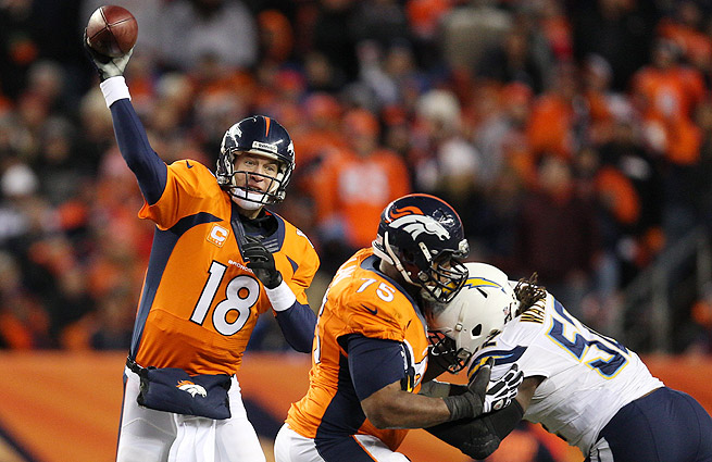 Peyton Manning led the Broncos over the Chargers, capturing his first playoff win since the 2009 AFC title game.
