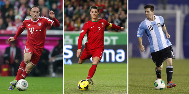 Cristiano Ronaldo, center, edged out Franck Ribery, left and Lionel Messi to claim FIFA's Ballon d'Or.
