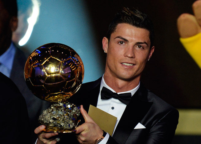 Cristiano Ronaldo was voted the world's top player for the second time in his career, ending Lionel Messi's four-year run.