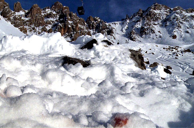 Michael Schumacher's blood can be seen on the snow where his skiing accident occurred.