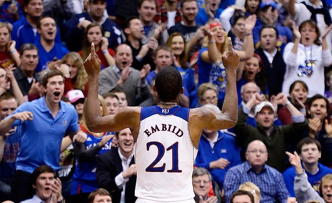 Joel Embiid and fellow freshman Wayne Selden and Andrew Wiggins could lead Kansas to another title.
