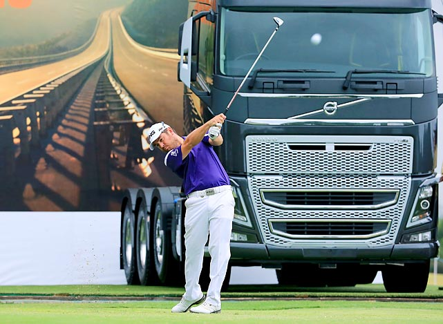 Louis Oosthuizen strikes his tee shot on the 18th hole of his second round at the 2014 Volvo Golf Champions in Durban, South Africa. Oosthuizen, a South Africa-native, won the tournament for the second straight year, finishing 12-under par.