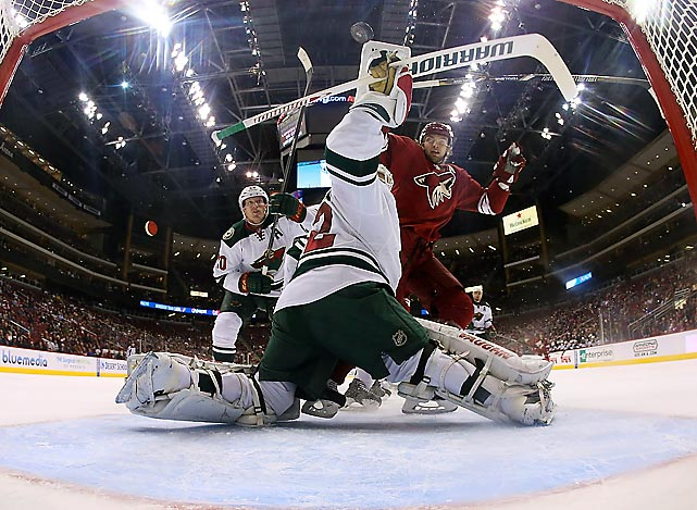 Minnesota Wild goaltender Niklas Backstrom tries to stop the puck in a Jan. 9 game against the Phoenix Coyotes. Backstrom allowed only one goal in a 4-1 victory for the Wild.