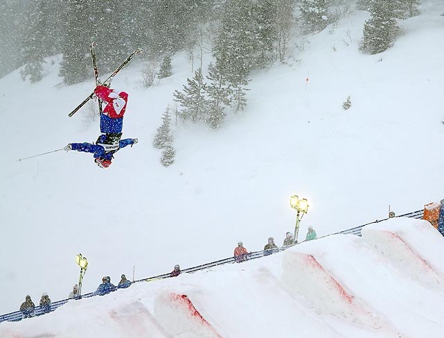 Perrine Laffont of France flips during qualifying for the moguls.