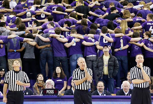 Washington's student section turns its collective back to the court as Utah players are introduced before a Jan. 8 game. The Huskies defeated the Utes 59-57.