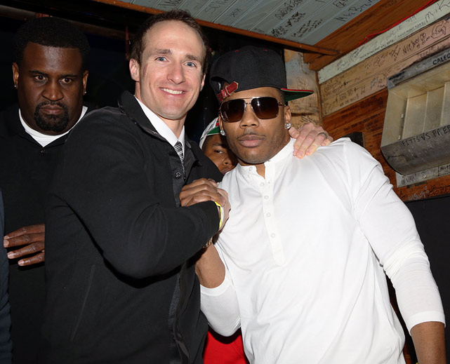Brees poses with Nelly during the Drew Brees Hurricane Sandy Relief Concert at the House of Blues on Feb. 1, 2013 in New Orleans