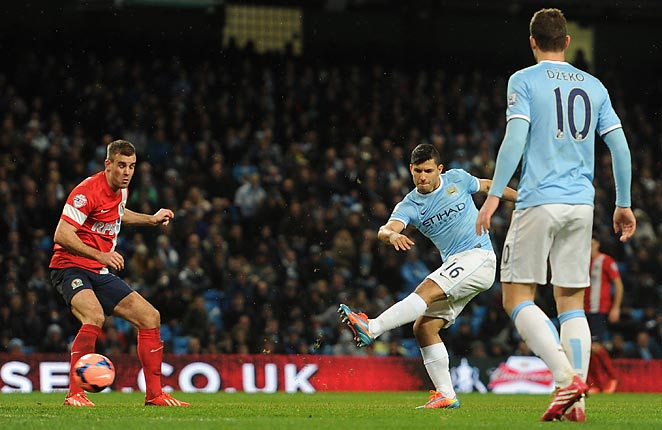 Sergio Agüero scored seconds after coming on as a substitute in a 5-0 win over Blackburn Rovers.