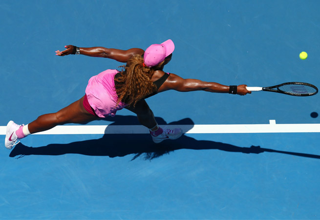 Serena Williams beat Daniela Hantuchova to improve to 61-8 at the Australian Open.