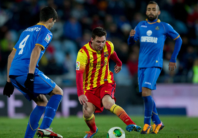 Lionel Messi scored twice in his first start since returning from a hamstring injury.