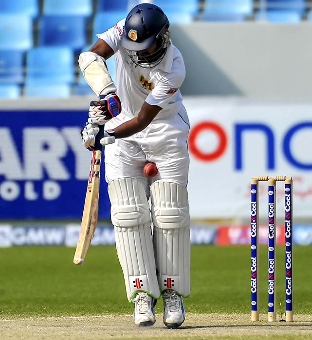 Dimuth Karunaratne was converted from baritone to soprano during the dramatic second test match between Pakistan and Sri Lanka at the Dubai International Cricket Stadium.