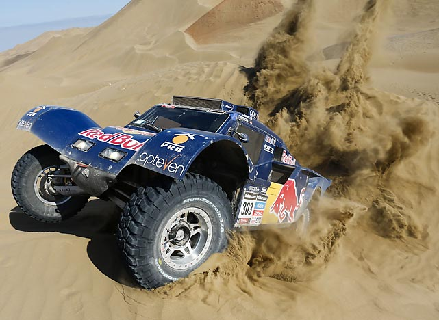 Carlos Sainz of Spain and co-pilot Timo Gottschalk of Germany attempt a shortcut to Ganzhou, China during the tenth stage of the thrilling race, which happened to take place in Chile.