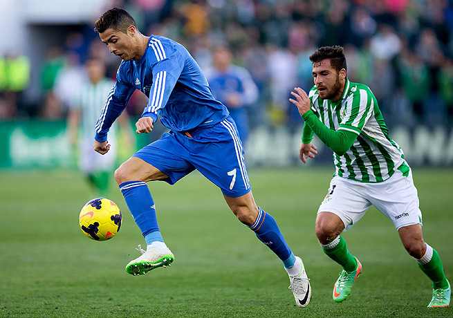 Cristiano Ronaldo (left) scored on a magnificent long-range effort in the 10th minute against Real Betis.