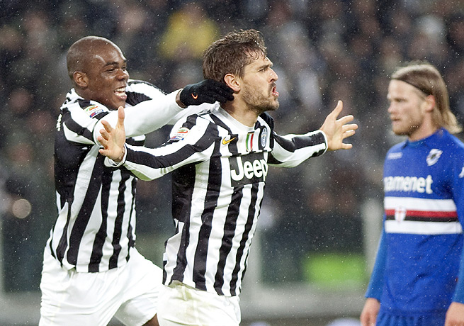 Fernando Llorente (center) netted Juventus' second goal in the 24th minute with a well-placed header.