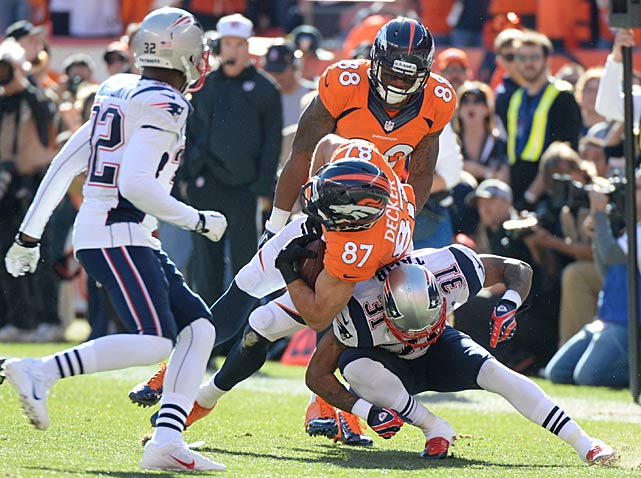 Aqib Talib, pictured here taking down Eric Decker, left the game in the first half and didn't return. Without its best defensive back, New England was picked apart by Peyton Manning.