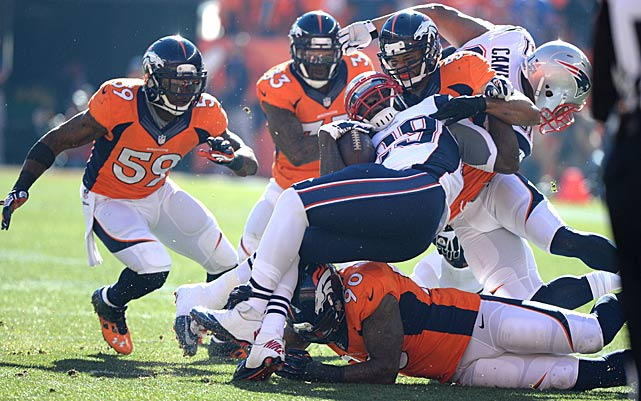 The Broncos shut down LeGarrette Blount, who gained only five yards on six carries before being relegated to the sideline.