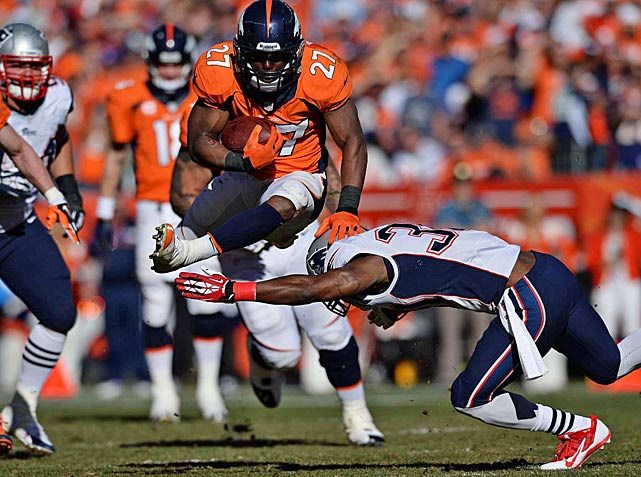 Knowshon Moreno led Denver's ground attack, finishing with 59 of the 107 yards rushing.