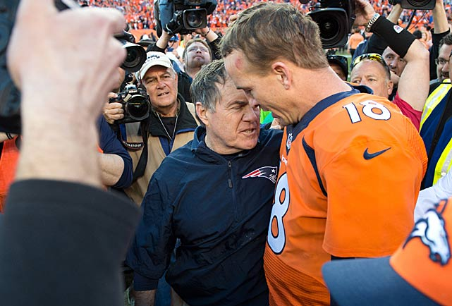 Patriots coach Bill Belichick congratulates Peyton Manning on reaching his third Super Bowl.