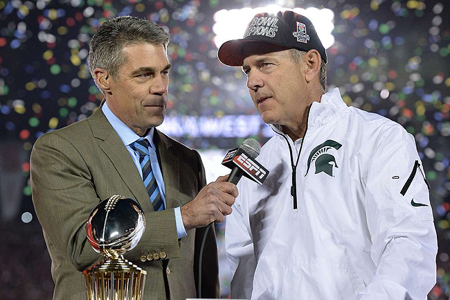 Chris Fowler (left) is a cornerstone of ESPN's college football coverage, but his role could change.