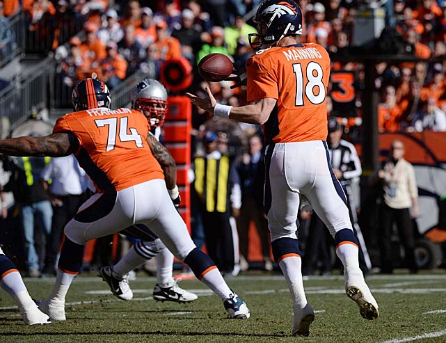 Peyton Manning got the handle on this errant snap in time to fire a completion.