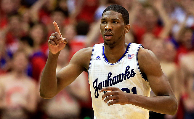 Joel Embiid and Kansas jumped from No. 15 to No. 8 in this week's poll.