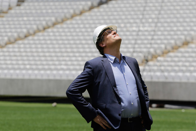 FIFA Secretary General Jerome Valcke inspects the Itaquerao Stadium in Sao Paulo, where a construction accident killed two people in November.