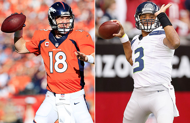 Peyton Manning (left) and Russell Wilson are a combined 55-16 overall since the start of the 2012 season.