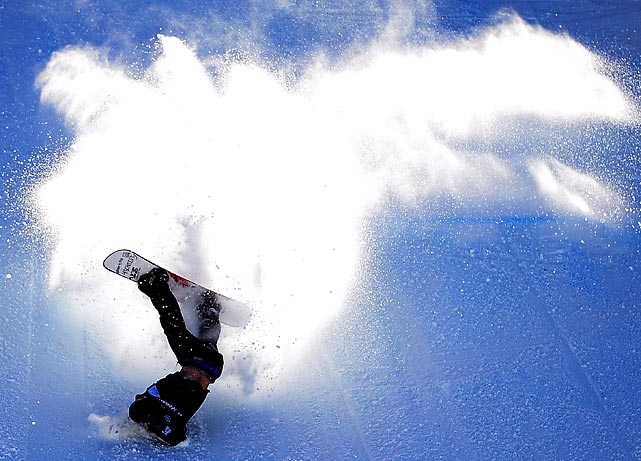 American snowboarder Eric Beauchemin falls down during the Snowboarding Slopestyle Final U.S. Olympic Qualification. The event took place at Mammoth Mountain Resort in California this past Thursday.