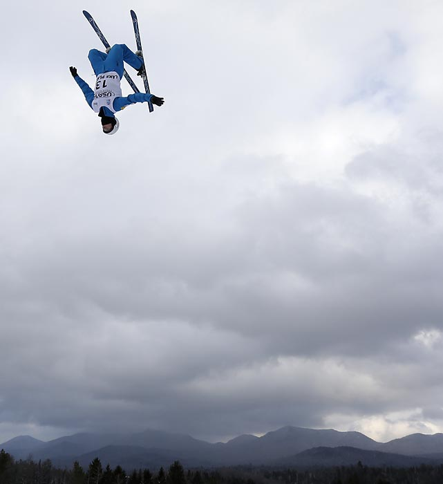 Freestyle aerial skier Mac Bohonnon flips during training for the freestyle World Cup aerials this past Friday in Lake Placid, N.Y.
