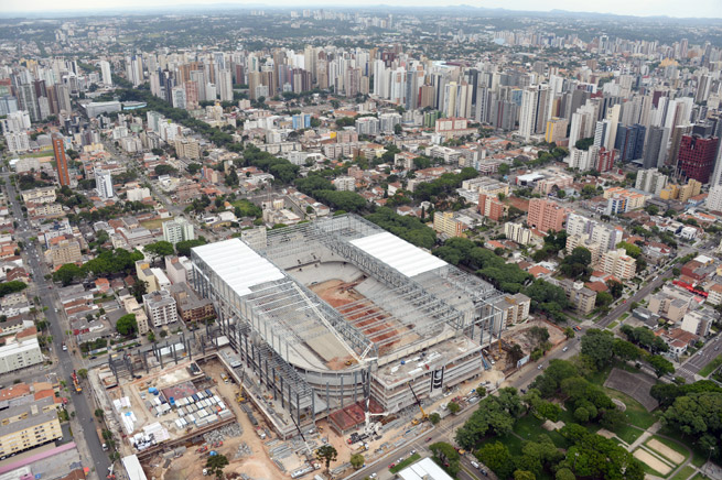 Arena da Baixada in Curitiba is one of five stadiums that have yet to be completed ahead of this summer's World Cup.