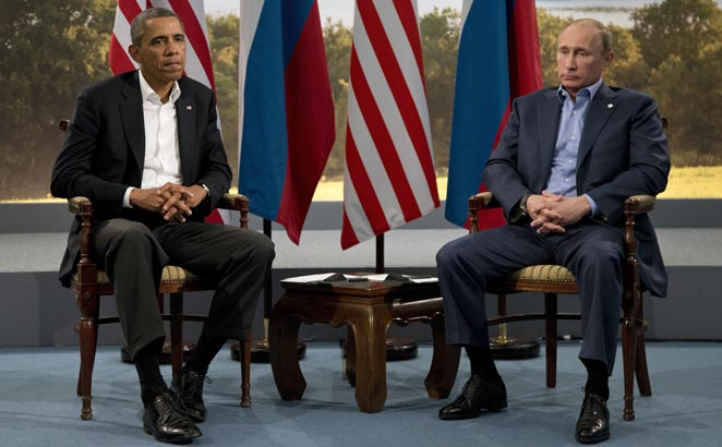 In this June 17, 2013, file photo, President Barack Obama meets with Russian President Vladimir Putin in Enniskillen, Northern Ireland.