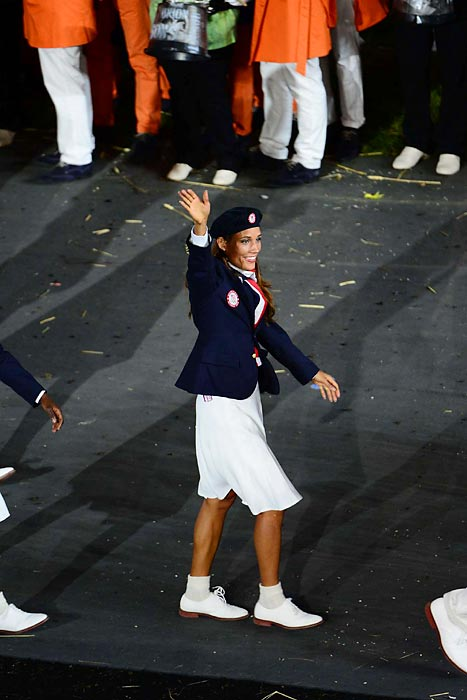 Jones waves to the crowd during the opening ceremonies of the London Games.
