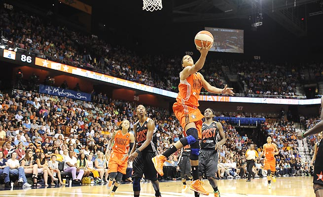 Candace Parker shined in the 2013 WNBA All-Star Game, racking up 23 points and 11 rebounds.