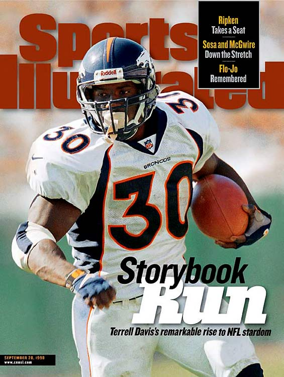 Terrell Davis was drafted as a relative unknown by the Broncos in the sixth round of the 1995 NFL Draft. He wasn't anonymous for long, as Davis proceeded to spark Denver's rushing offense in Mike Shanahan's first year as head coach. Davis ran for 1,117 yards in his rookie year and then proceeded to rush for over 1,500 yards each of the next three seasons, including a remarkable 2,008 yards and 21 touchdowns in 1998. His effort that year is the fifth-highest single-season rushing yards total in NFL history. With Davis in the backfield, the Broncos won their first two Super Bowls. Injuries forced him to retire before he turned 30.