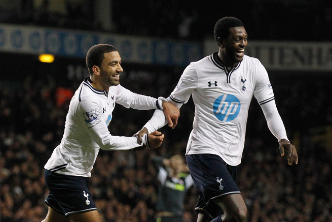 There has been much for Emmanuel Adebayor, right, to smile about of late, with him becoming rejuvenated under Tottenham manager Tim Sherwood.