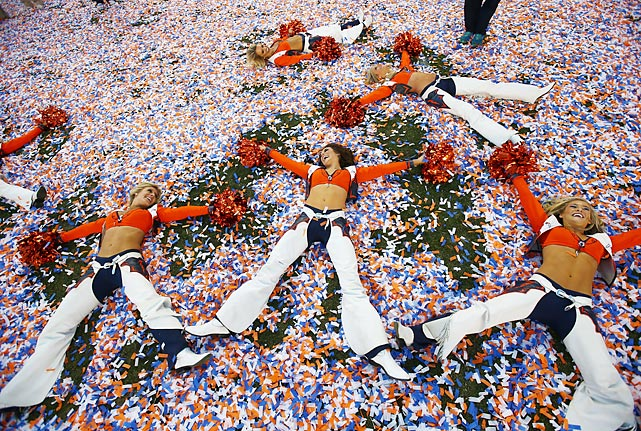 Confetti angels frolicked after the mighty Broncos sent the New England Patriots down to 26-16 defeat in the AFC Championship Game at Denver's Sports Authority Field at Mile High.