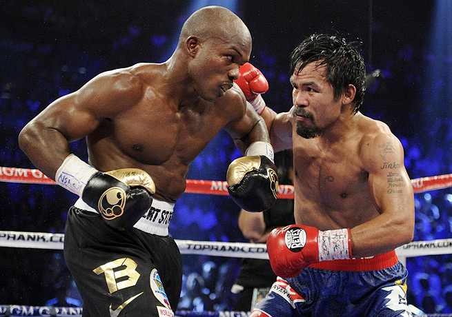 Manny Pacquiao (right) will look to hand Timothy Bradley his first loss when the two meet in April.