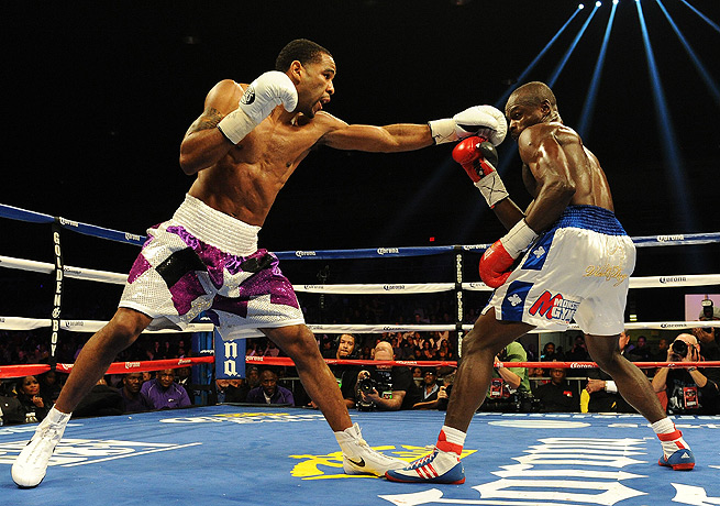 Lamont Peterson (left) handed challenger Dierry Jean the first loss of his professional career.