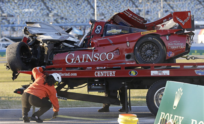 Memo Gidley was hospitalized after his Corvette plowed into the back of Matteo Malucelli's Ferrari.
