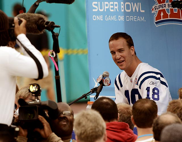 Manning reached his first Super Bowl after the Colts defeated the New England Patriots 38-34 in the AFC Championship game. He was 30 at the time.