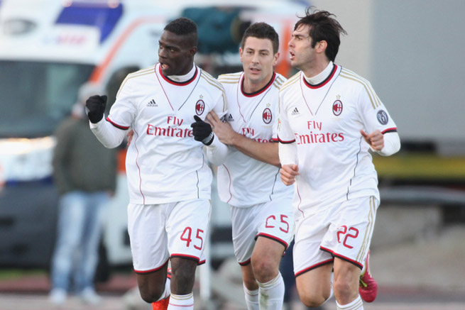 AC Milan striker Mario Balotelli, left, was fined for making a crude hand gesture toward Cagliari fans after scoring a goal on Sunday.