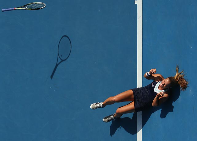Dominika Cibulkova of Slovakia celebrates her 6-1, 6-2 semifinal victory over Agnieszka Radwanska in the Australian Open. Cibulkova fell to Li Na in the final.
