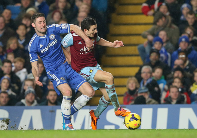 Chelsea's Gary Cahill, left, and West Ham's Stewart Downing jockey for position during a 0-0 deadlock at Stamford Bridge.